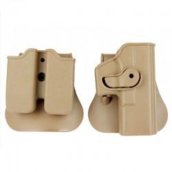 Pouzdro pro Glock s pouzdrem na zásobníky - pískové