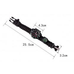 Paracord náramek - černý, s hodinkami